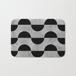 Black abstract 60s circles on concrete -Mix&Match with Simplicty of life Bath Mat