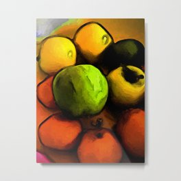 Still Life with a Green Apple and Orange Mandarins Metal Print