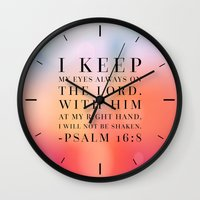 bible Wall Clocks featuring Psalm 16:8 Bible Quote by Biblelicious