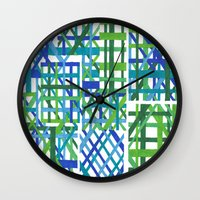 plaid Wall Clocks featuring Plaid by Smiley's Dreamboat