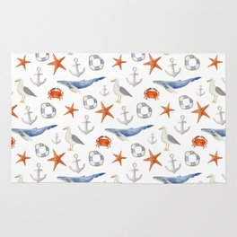 Watercolor nautical pattern Rug