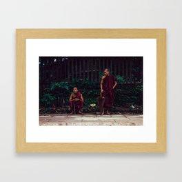 Yangon, Myanmar – Monks Waiting for the Train Framed Art Print