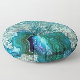Aqua turquoise agate mineral gem stone - Beautiful Backdrop Floor Pillow