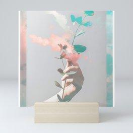 Aqua Pink Sky Plant Mini Art Print