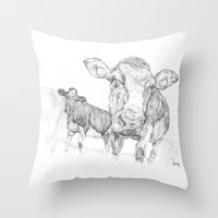 cows Throw Pillows featuring Cows by George Terry