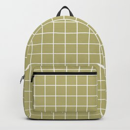 Misty moss - grey color - White Lines Grid Pattern Backpack