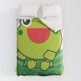 cute happy kero kerompa frog frogy Comforters