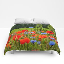 Poppies And Cornflowers Comforters