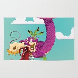 Vintage Chinese Dragon Print Rug