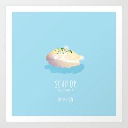Scallop Sushi with Matcha Art Print