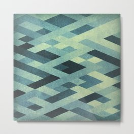 Abstract Pattern in Blue Metal Print