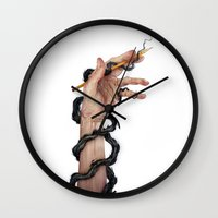 pen Wall Clocks featuring Stigma by Corinne Reid