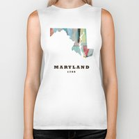 maryland Biker Tanks featuring Maryland state map modern by bri.buckley