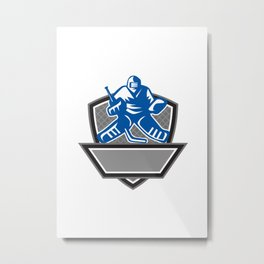 Ice Hockey Goalie Crest Retro Metal Print