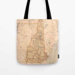 Map Of New Hampshire 1890 Tote Bag