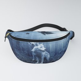 Wolfs in the blue forest Fanny Pack
