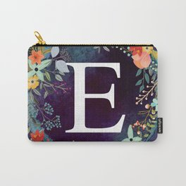 Personalized Monogram Initial Letter E Floral Wreath Artwork Carry-All Pouch