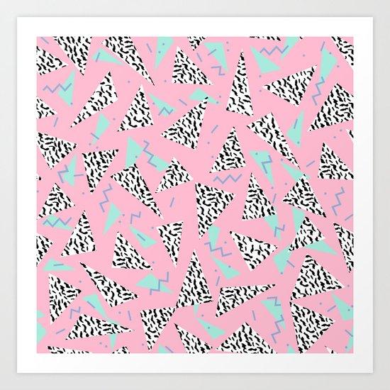Geometric Minimal pastel modern pattern design triangle memphis basic nursery decor Art Print