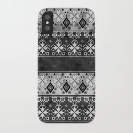 Ethnic black and gray ornament . Grunge . iPhone Case