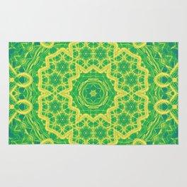 mystic mandala in green and yellow Rug