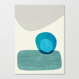 Stacking Pebbles Blue Canvas Print