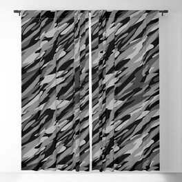 Black, White and Gray Camouflage Abstract Pattern Blackout Curtain
