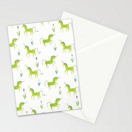 Green unicorn Stationery Cards