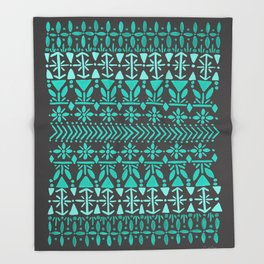 Norwegian Pattern – Aqua on Charcoal Throw Blanket