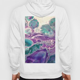 Lilies On A Purple Pond - Abstract Acrylic Art by Fluid Nature Hoody