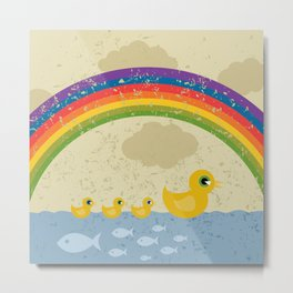 Ducks under a rainbow Metal Print