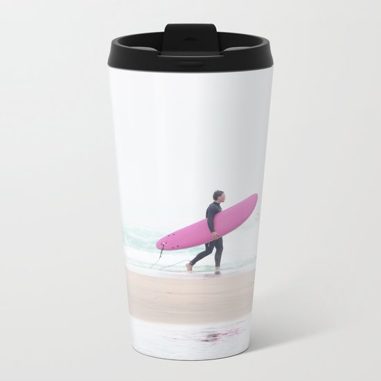 surfing beach vibes Metal Travel Mug