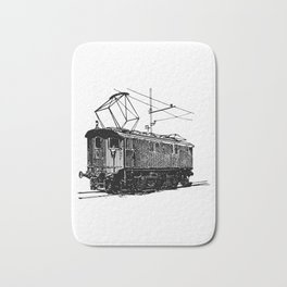 Old City Tram Carriage Detailed Illustration Bath Mat