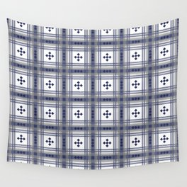 Preppy Plaid in Navy and Gray Wall Tapestry