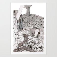 Camelia field Art Print