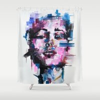 pixel Shower Curtains featuring PIXEL by Alexis Call
