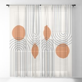 Mid Century Modern Geometric 88 in Navy Blue and Orange (Rainbow and Sun Abstraction) Sheer Curtain