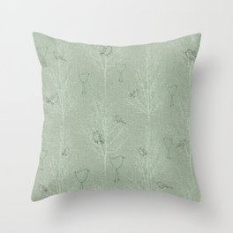 Cute Little Line Art Birds in White Trees - Sage Green Throw Pillow
