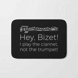 Hey Bizet! I play the clarinet, not the trumpet! (black) Bath Mat