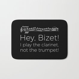 Hey Bizet! I play the clarinet, not the trumpet! (black) Bath Mat
