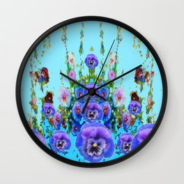 MODERN BLUE WESTERN GARDEN  PURPLE PANSY FLOWERS Wall Clock