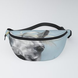 Arabian White Horse Painting Fanny Pack