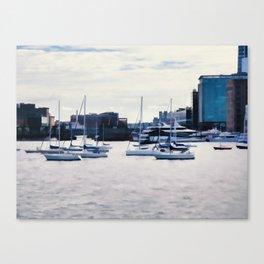 Boats in Boston Harbor Canvas Print