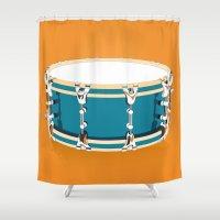 drum Shower Curtains featuring Drum - Orange by Ornaart
