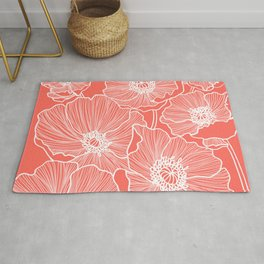 Coral Poppies Rug