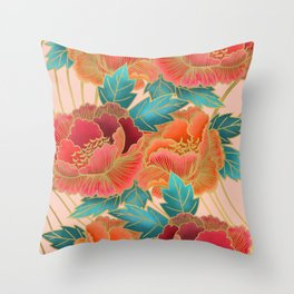 Pink Peonies Pattern with Gold Waves Throw Pillow