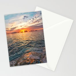 Vertical sunset magical light sunset on the sea Stationery Cards