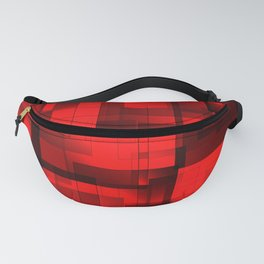 Mosaic of red volumetric squares with a shadow. Fanny Pack