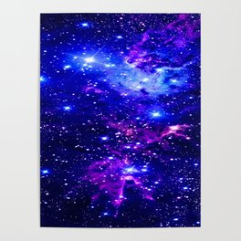 Fox Fur Nebula Galaxy blue purple Poster