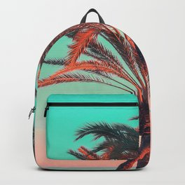 Paradise | modern pink turquoise tropical palm tree beach sea summer photography Backpack
