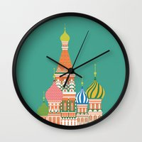 moscow Wall Clocks featuring Moscow by Chay Lazaro